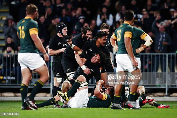 Ardie Savea of New Zealand celebrates after scoring a try during the Rugby Championship match between the New Zealand All Blacks and the South Africa...