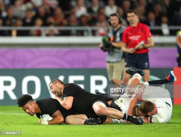 Ardie Savea of New Zealand scores a try with Dane Coles in support during the Rugby World Cup 2019 Semi-Final match between England and New Zealand...