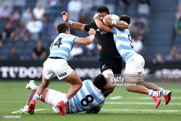 Ardie Savea of the All Blacks charges forward during the 2020 Tri-Nations rugby match between the New Zealand All Blacks and the Argentina Los Pumas...