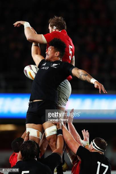 Ardie Savea of the All Blacks competes with Alun Wyn Jones of the Lions for lineout ball during the Test match between the New Zealand All Blacks and...