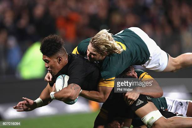 Ardie Savea of the All Blacks dives over to score a try during the Rugby Championship match between the New Zealand All Blacks and the South Africa...