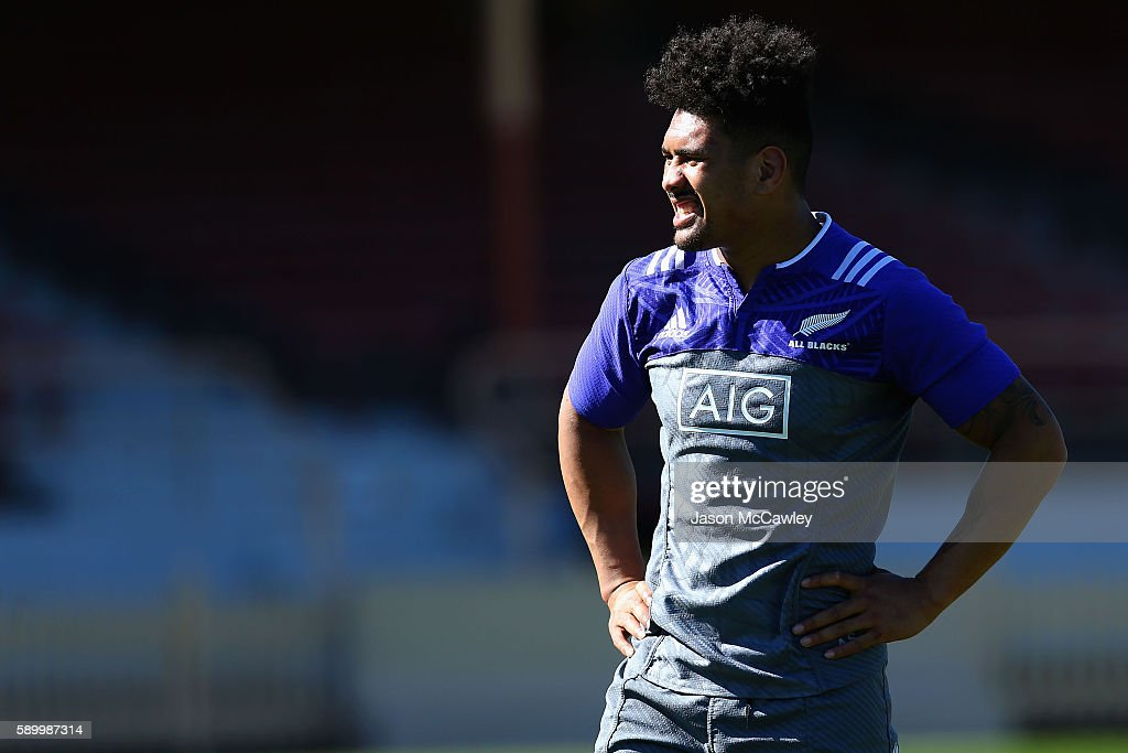 Ardie Savea of the All Blacks during a New Zealand All Blacks training session at North Sydney Oval on August 16, 2016 in Sydney, Australia.