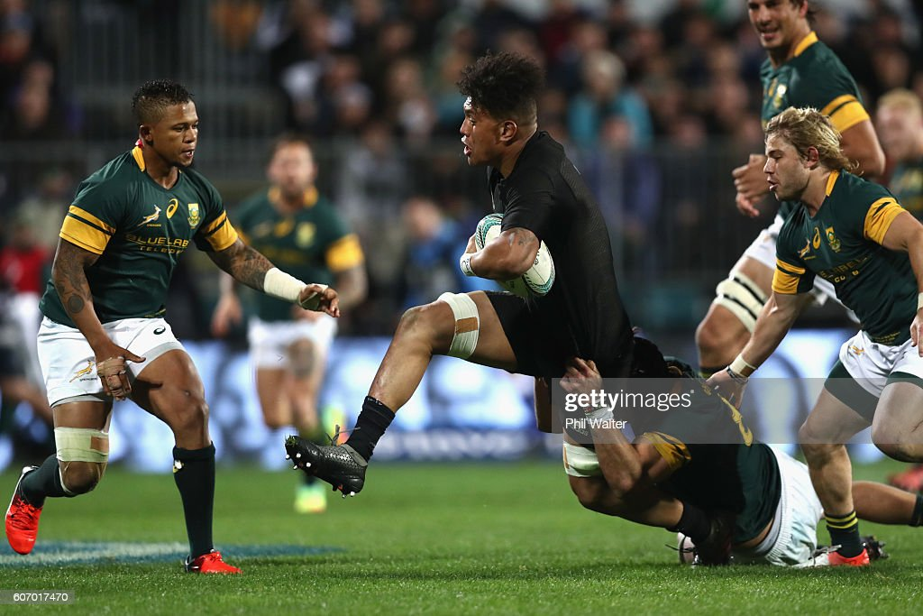 Ardie Savea of the All Blacks is tackled during the Rugby Championship match between the New Zealand All Blacks and the South Africa Springboks at AMI Stadium on September 17, 2016 in Christchurch, New Zealand.