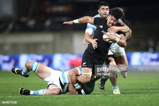 Ardie Savea of the All Blacks is tackled during The Rugby Championship match between the New Zealand All Blacks and Argentina at Yarrow Stadium on...