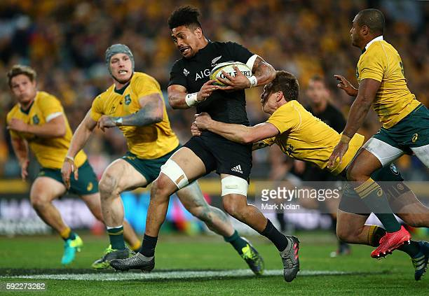 Ardie Savea of the All Blacks makes a lline break during the Bledisloe Cup Rugby Championship match between the Australian Wallabies and the New...