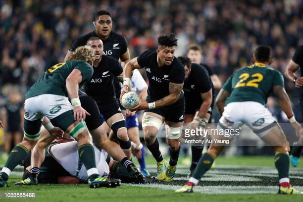 Ardie Savea of the All Blacks on the charge during The Rugby Championship match between the New Zealand All Blacks and the South Africa Springboks at...