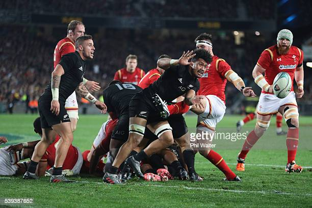 Ardie Savea of the All Blacks passes the ball during the International Test match between the New Zealand All Blacks and Wales at Eden Park on June...