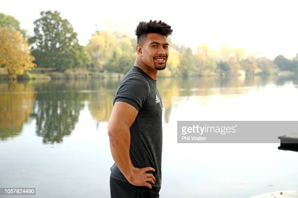 Ardie Savea of the All Blacks poses for a portrait alongside the Thames River during a New Zealand All Blacks portrait session at the Lensbury Hotel...