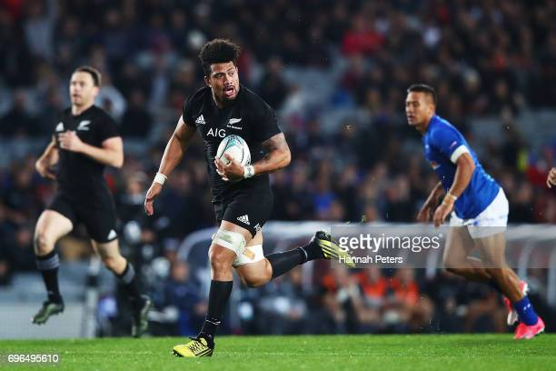 Ardie Savea of the All Blacks runs away to score a try during the International Test match between the New Zealand All Blacks and Samoa at Eden Park...