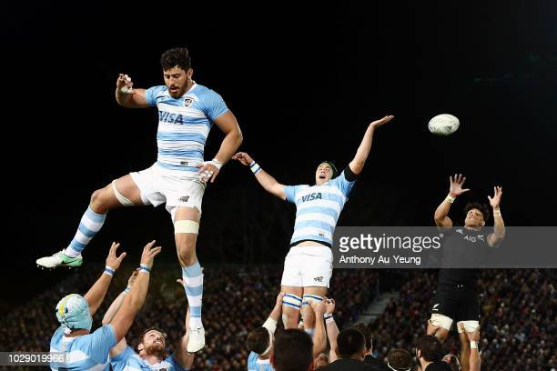 Ardie Savea of the All Blacks wins the lineout ball during The Rugby Championship match between the New Zealand All Blacks and Argentina at Trafalgar...