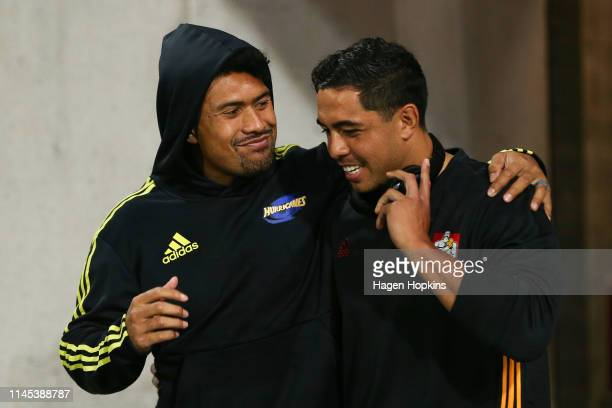 Ardie Savea of the Hurricanes and Anton LienertBrown of the Chiefs greet each other during the round 11 Super Rugby match between the Hurricanes and...