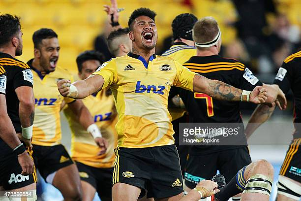Ardie Savea of the Hurricanes celebrates the win during the round 14 Super Rugby match between the Hurricanes and the Chiefs at Westpac Stadium on...
