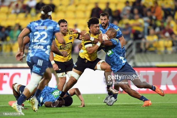 Ardie Savea of the Hurricanes charges forward during the round one Super Rugby Aotearoa match between the Hurricanes and the Blues at Sky Stadium, on...