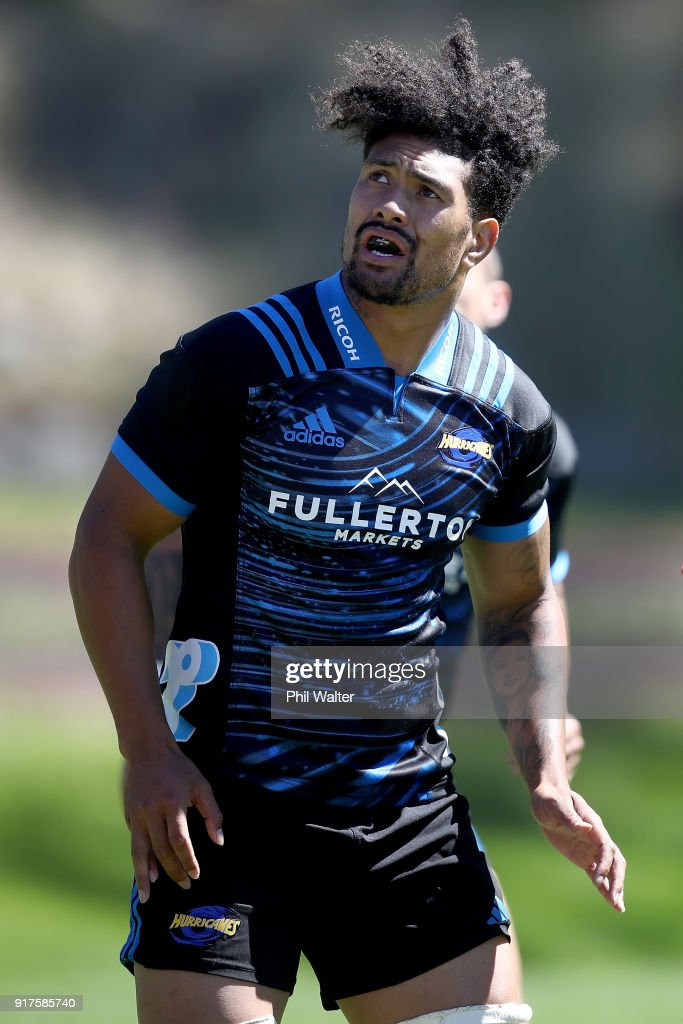 Ardie Savea of the Hurricanes during a Hurricanes Super Rugby training session at Rugby League Park on February 13, 2018 in Wellington, New Zealand.