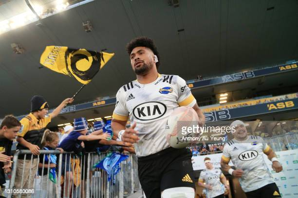 Ardie Savea of the Hurricanes leads the team out during the round 6 Super Rugby Aotearoa match between the Blues and the Hurricanes at Eden Park, on...