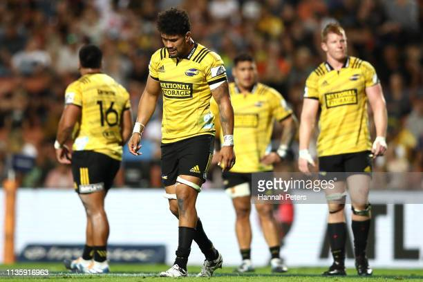 Ardie Savea of the Hurricanes looks on during the round five Super Rugby match between the Chiefs and the Hurricanes at FMG Stadium Waikato on March...