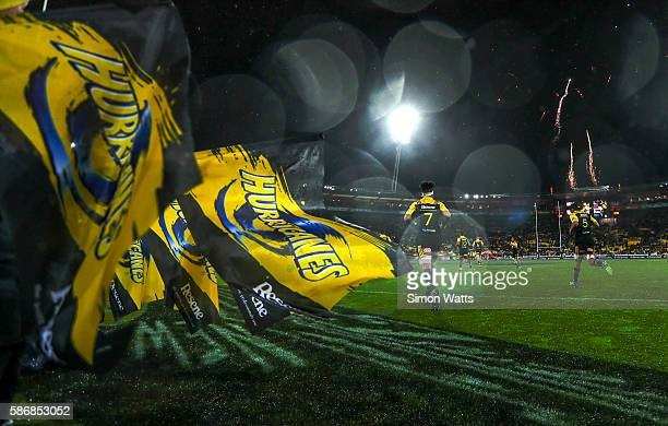 Ardie Savea of the Hurricanes runs onto Westpac Stadium during the 2016 Super Rugby Final match between the Hurricanes and the Lions at Westpac...