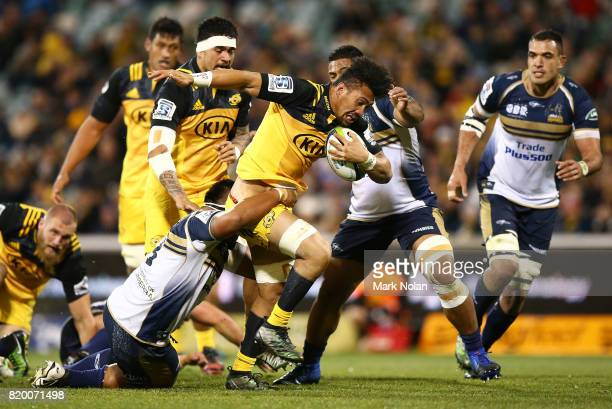 Ardie Savea of the Hurricanes runs the ball during the Super Rugby Quarter Final match between the Brumbies and the Hurricanes at Canberra Stadium on...