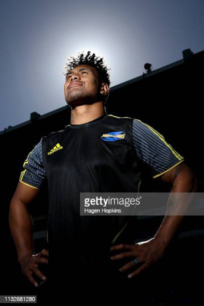 Ardie Savea poses during a Hurricanes captain's run at Central Energy Trust Arena on February 28 2019 in Palmerston North New Zealand