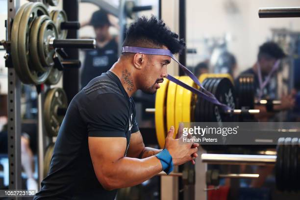 Ardie Savea runs through exercises during a New Zealand All Blacks gym session on October 22 2018 in Tokyo Japan