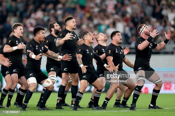 Ardie Savea, Sonny Bill Williams, Aaron Smith and Codie Taylor of the All Blacks perform the haka ahead of the Rugby World Cup 2019 Quarter Final...