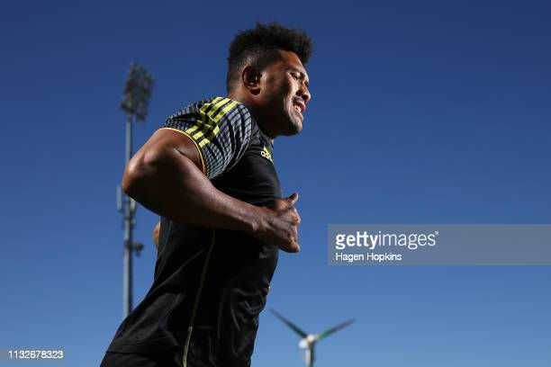 Ardie Savea takes the field during a Hurricanes captain's run at Central Energy Trust Arena on February 28 2019 in Palmerston North New Zealand