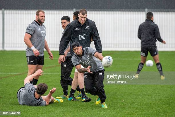 Ardie Savea throws the ball during a New Zealand All Blacks training session at Mt Smart Stadium on August 21 2018 in Auckland New Zealand