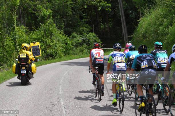 Ardoisier Time Keeper Motor Bike / Peloton / during the 70th Criterium du Dauphine 2018 Stage 4 a 181km stage from ChazeysurAin to LansenVercors...