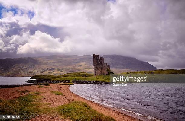 Ardvreck Castle at Loch Assynt in Highlands, Scotland.
