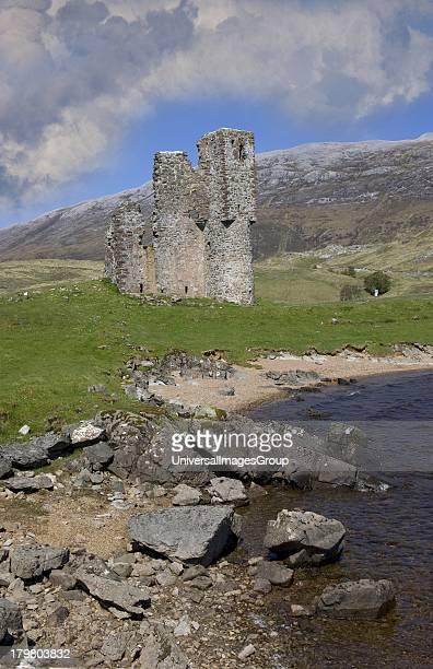 Ardvreck Castle ruins Loch Assynt Northwest Highlands Scotland United Kingdom