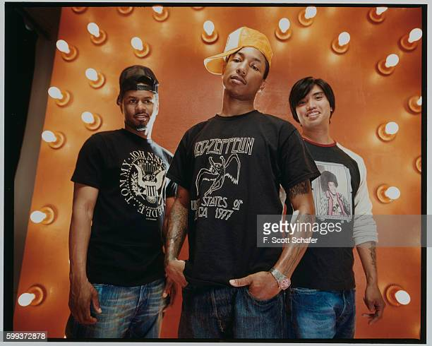 Sheldon Shay Haley Pharrell Williams and Chad Hugo are photographed for Request Magazine in 2002