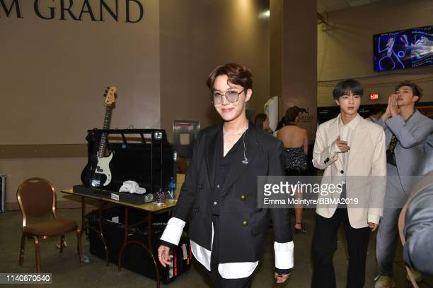 BTS are seen backstage during the 2019 Billboard Music Awards at MGM Grand Garden Arena on May 1 2019 in Las Vegas Nevada