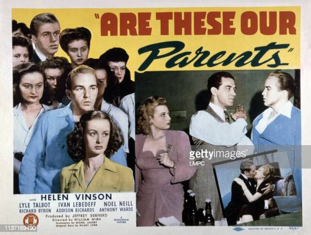 Are These Our Parents?, poster, US poster, left: Noel Neill , Richard Byron , center from left: Robin Raymond, Anthony Warde, Richard Byron, kissing...