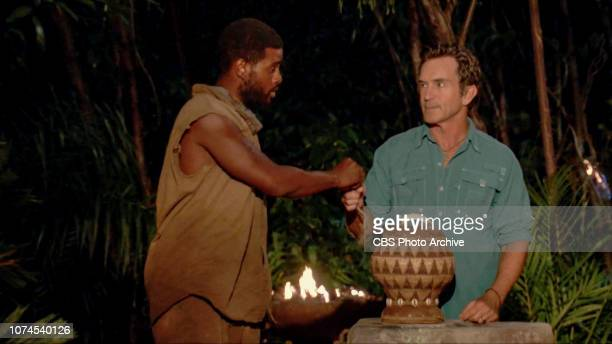 Are You Feeling Lucky Davie Rickenbacker and Jeff Probst at Tribal Council on the thirteenth episode of SURVIVOR David vs Goliath airing Wednesday...