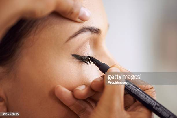 are you ready for some sexy cat eyes? - eye liner stock photos and pictures
