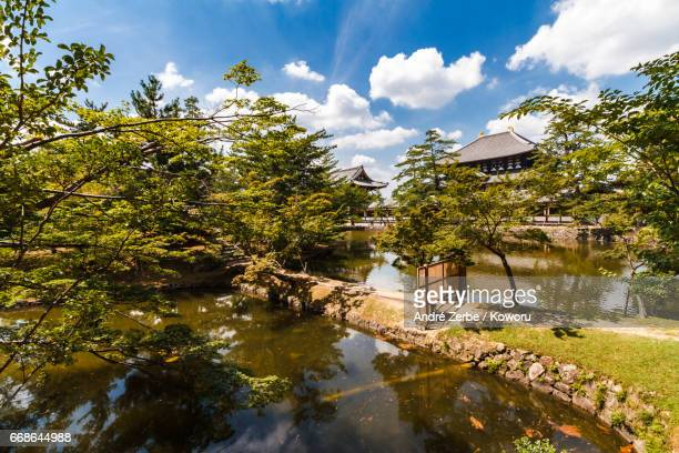area around famous Todaiji Temple, in Japan during summer