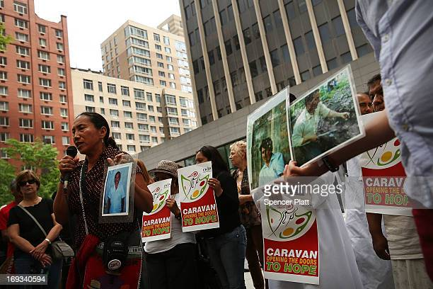 Area clergy family members of kidnapped and disappeared immigrants and others attend a news conference before they march around Federal Plaza to...