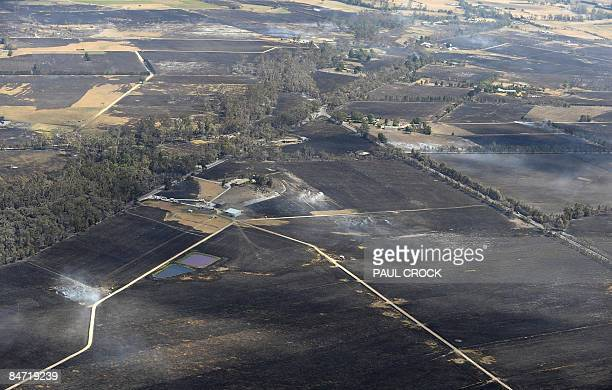 Area destroyed by the Bunyip wildfire which burnt through thousands of hectares of farmland and the Bunyip State Forest in LaTrobe Valley Gippsland...