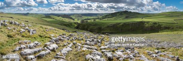 area of limestone pavement in the peak district, england - limestone pavement stock pictures, royalty-free photos & images