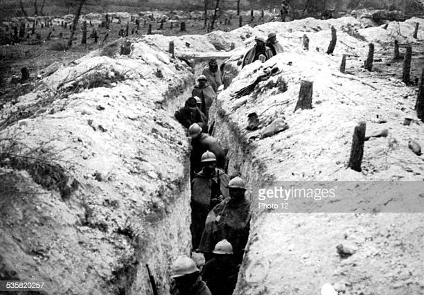 Area of the Bois Bricot region of Perthes German trench occupied by French soldiers September 27 France World War I Musée des deux guerres mondiales