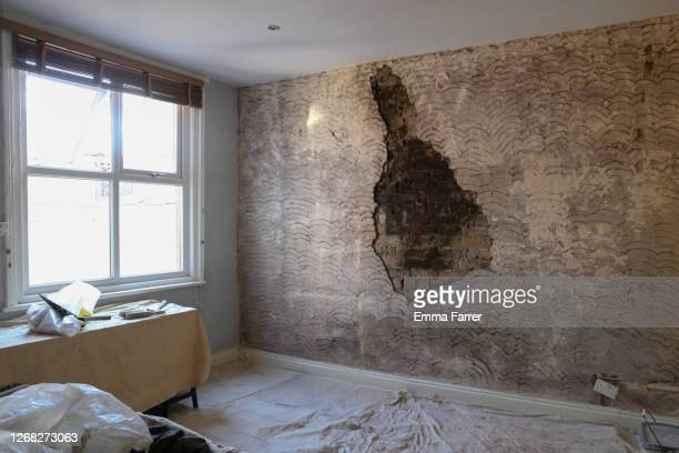 area of wall being treated following leak - すす ストックフォトと画像