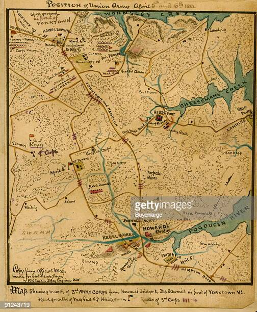 Area of Wormsley Creek to the north and Poquoson River to the south as McClellan's forces prepared to launch the siege of Yorktown Va The locations...