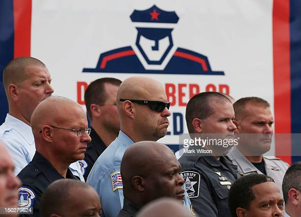 Area police paticipate in a news conference on drunk driving on August 14 2012 in Washington DC The National Highway Traffic Safety Administration...