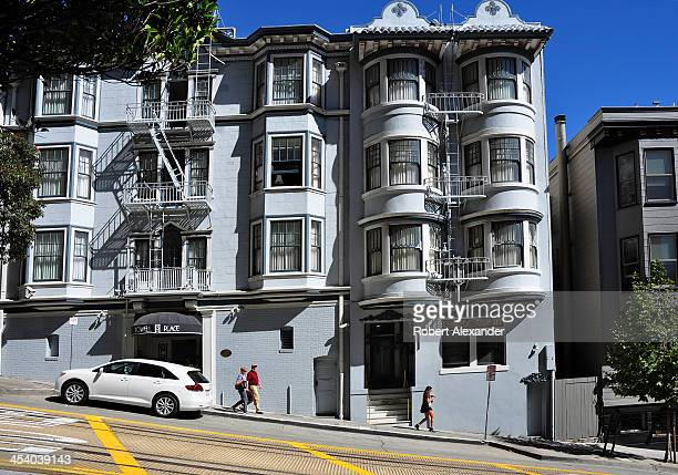 Area residents and visitors pass in front ofPowell Place a timeshare property in the Nob Hill section of San Francisco California