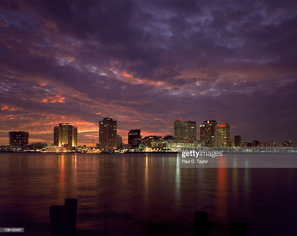 Area view of skyline at dusk, New Orleans, LA : Stock Photo