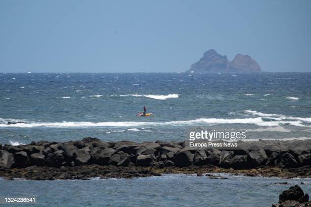 Area where the fourth body has been located, from an inflatable boat that sank last night, in the port of Orzola, in the north of Lanzarote, on 18...