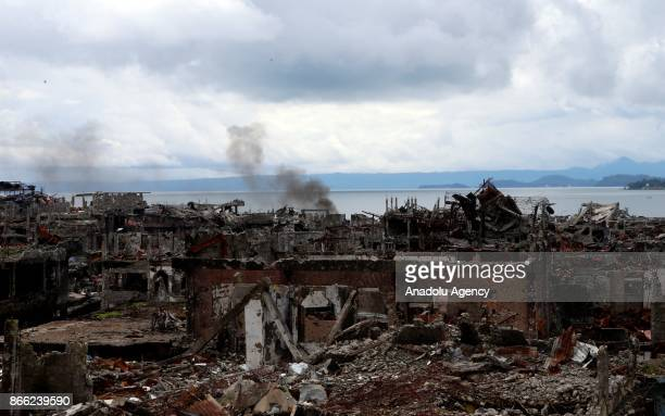 Area with all of the buildings heavily damaged in the main battle where last remaining Daesh terrorists were eliminated is seen in Marawi Lanao del...
