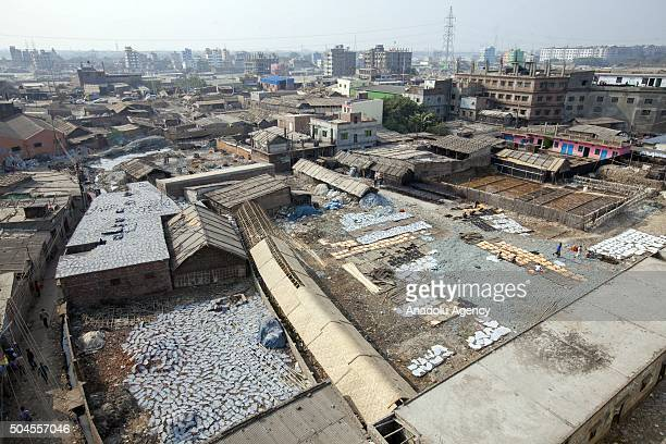 Areal shot of Hazaribagh Tannery in Dhaka, Bangladesh on January 11, 2016. Industry Minister of Senegal Amir Hossain Amu has ordered tannery owners...