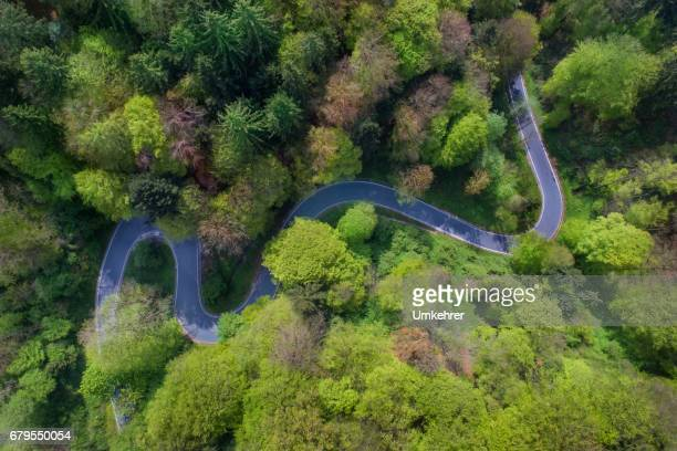 Areal view of a curvy road