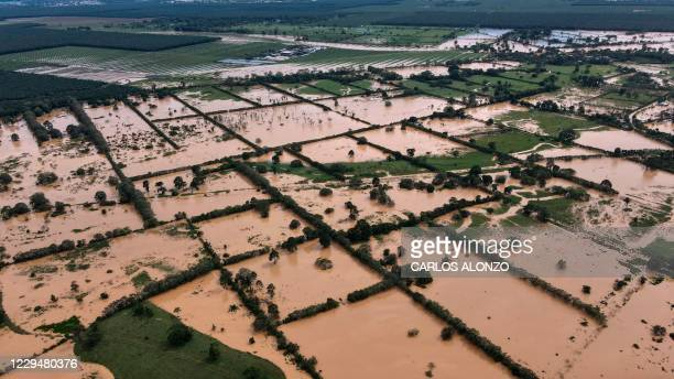 Areal view of a flooded area due to the heavy rains caused by Hurricane Eta, now degraded to a tropical storm, in Machaca village Puerto Barrios,...